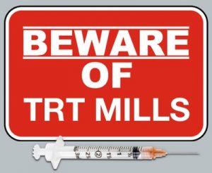 Beware of TRT mills caution sign.