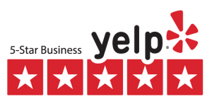 yelp logo with a 5 star business text.