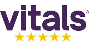 Vitals logo with a 5 star rating.